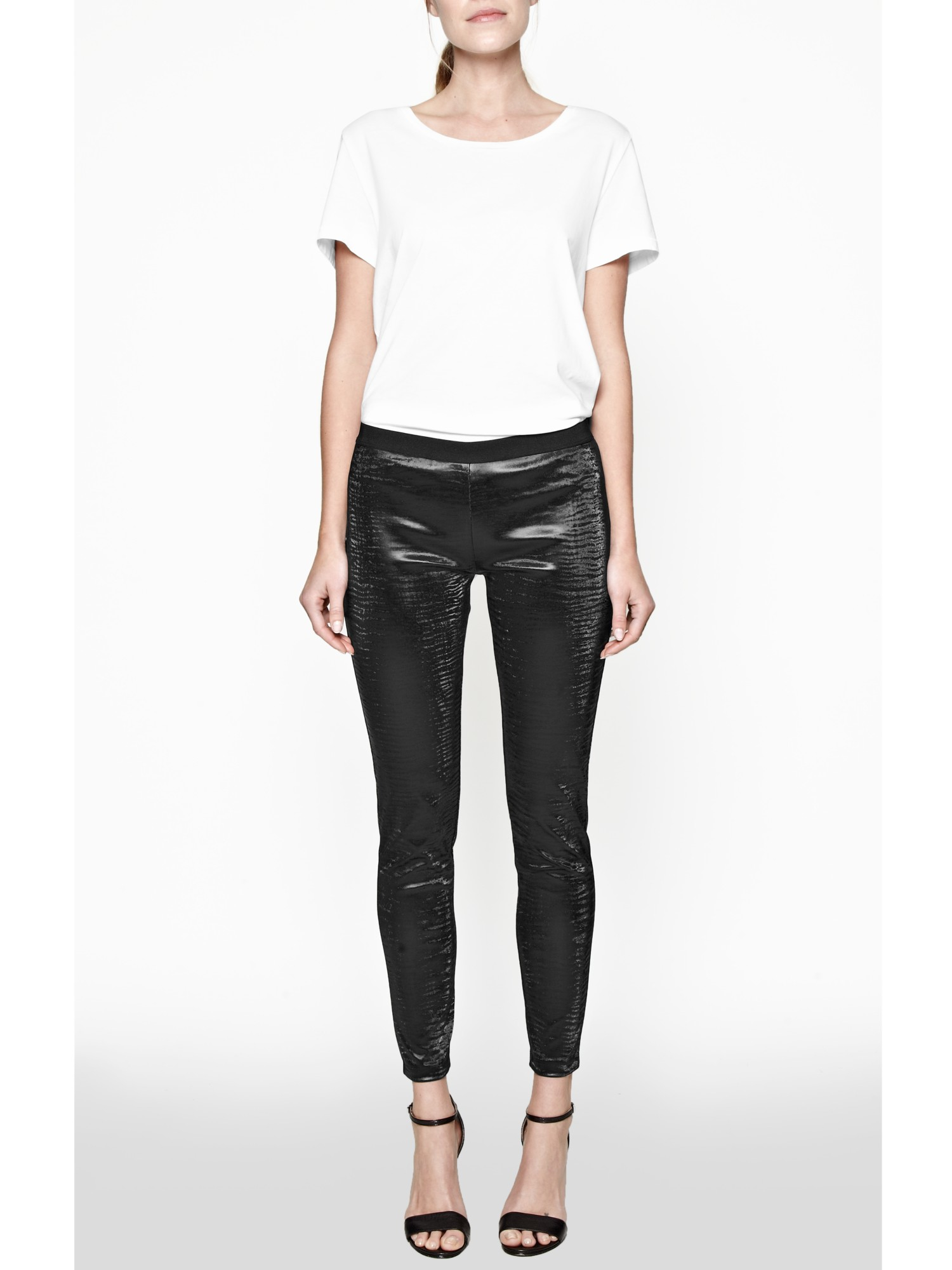 French Connection Lacquer Faux Leather Leggings in Black