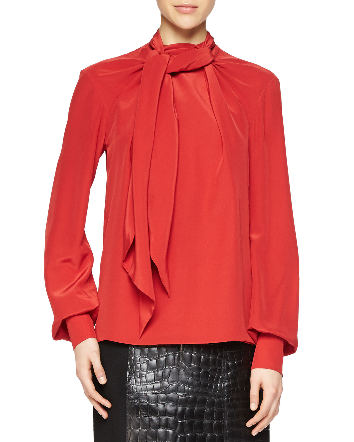 15eb77fac8831b Lyst - Jason Wu Bishop-sleeve Scarf Blouse in Red