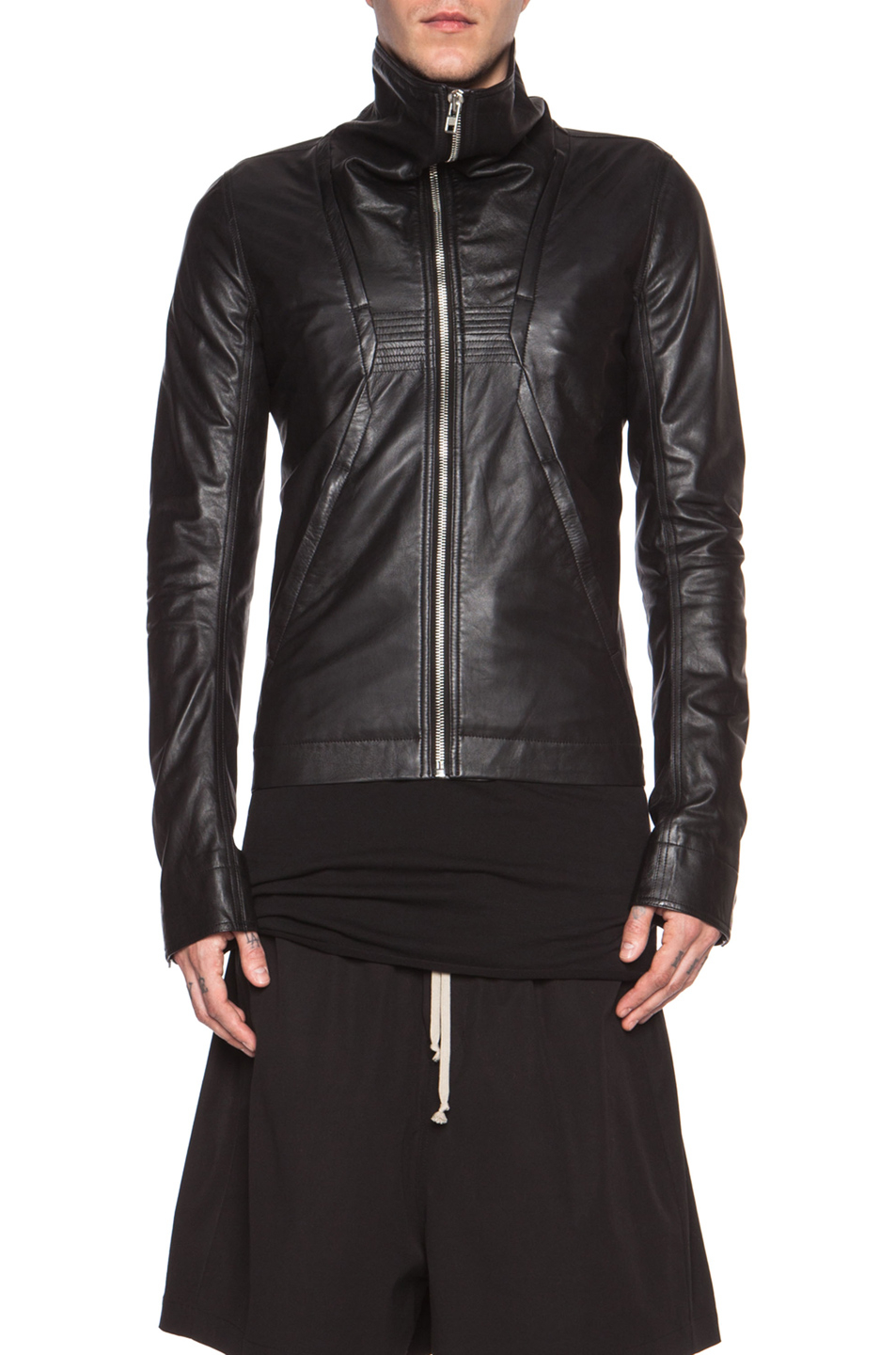 Rick Owens Men S Geo Glass Ice Leather Jacket In Black Lyst