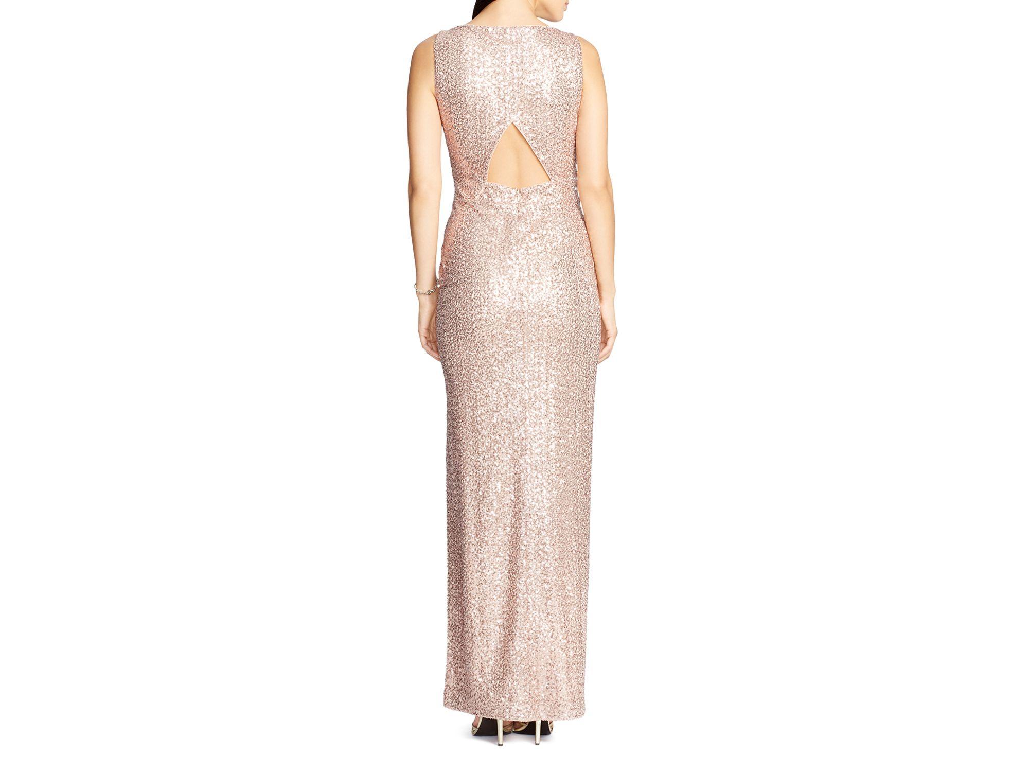 Enchanting Lauren Ralph Lauren Bateau Neck Sequin Lace Gown ...