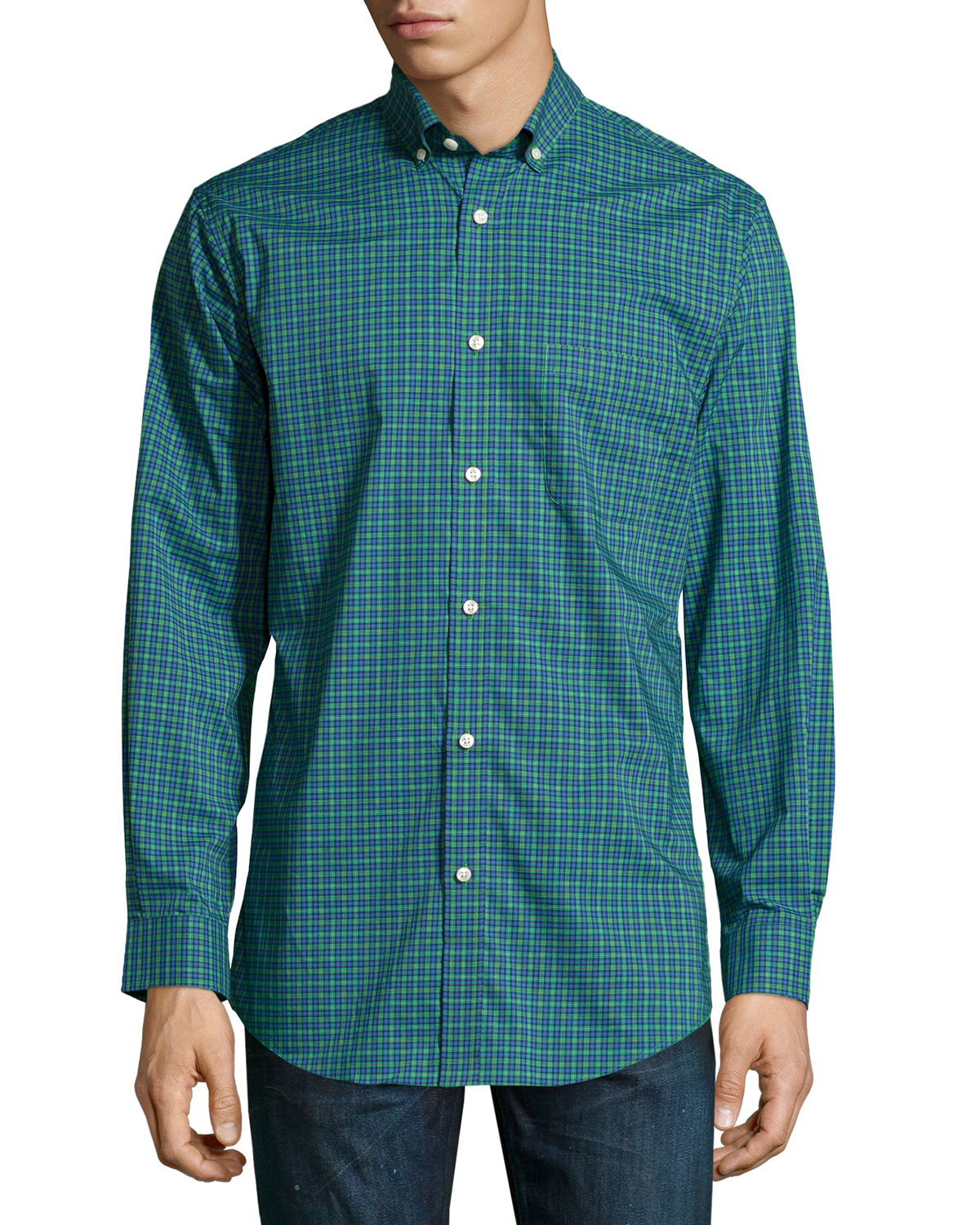 Lyst neiman marcus trim fit no iron plaid dress shirt in Mens no iron dress shirts