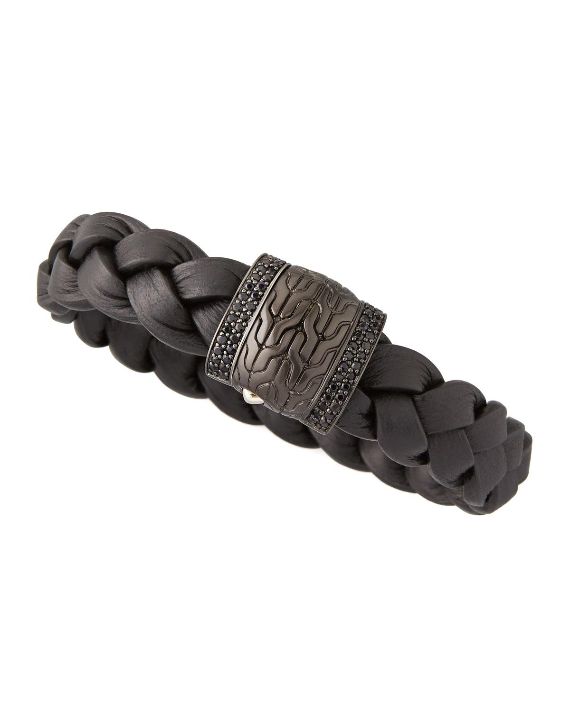 John Hardy Mens Black Bronze Braided Leather Bracelet In