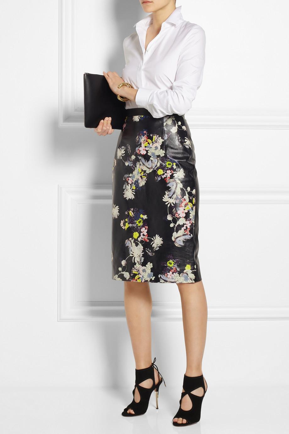 Erdem Aysha Floral-Print Leather Pencil Skirt in Black | Lyst
