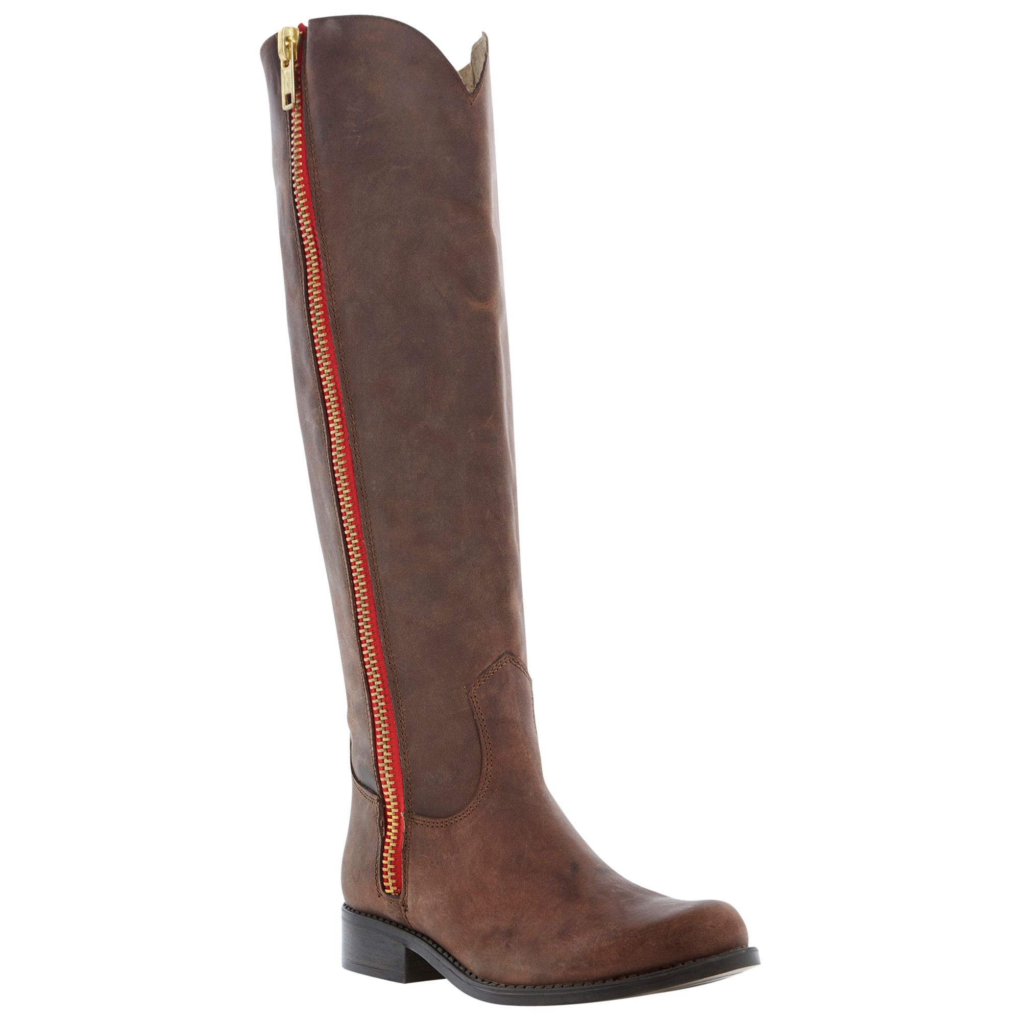steve madden ruse zip knee high boots in brown