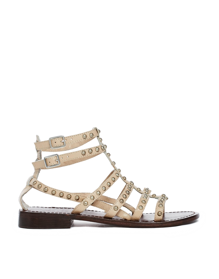 Asos For Keeps Leather Flat Sandals In Beige Nude Lyst