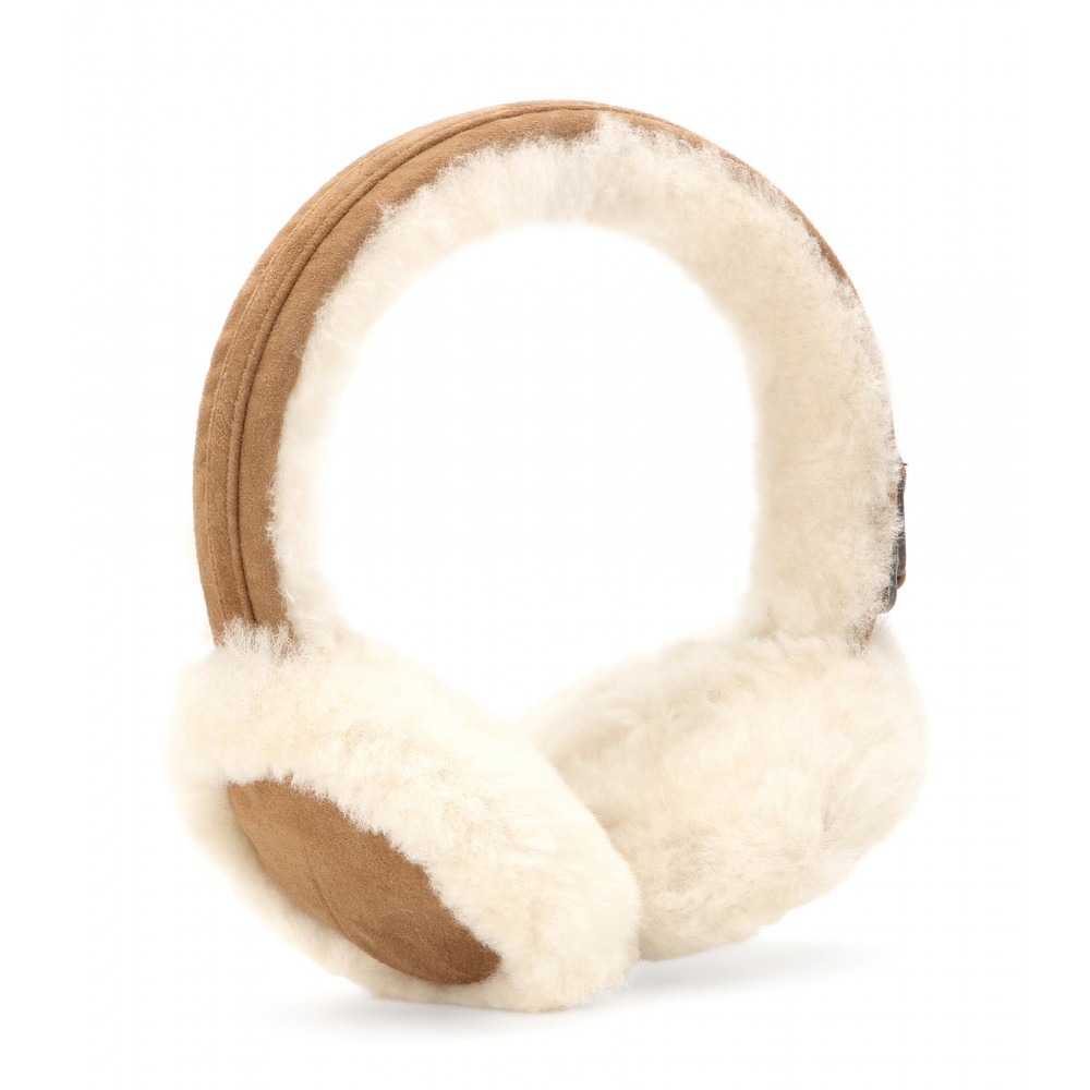 Ugg Double U Shearling Earmuffs In Natural Lyst