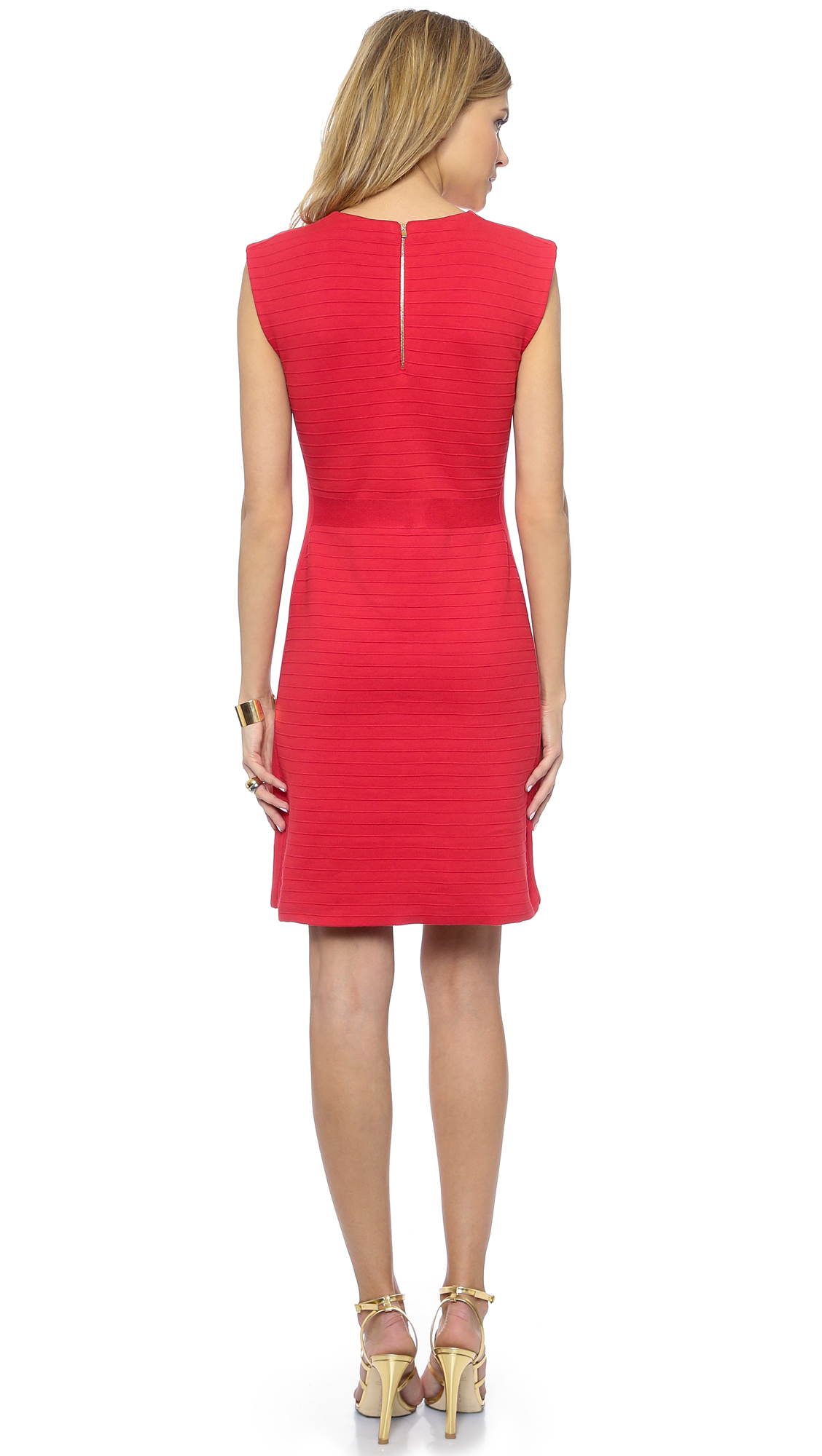Tory burch Cotton Crew Neck Dress - Brilliant Red in Red | Lyst