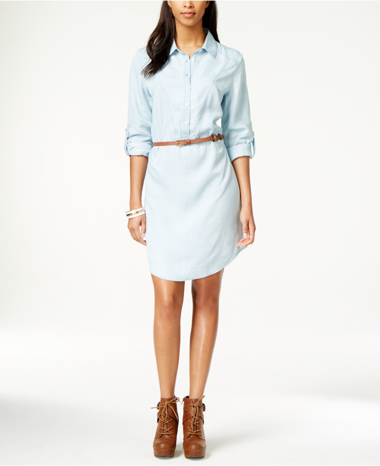 White washed denim dress.