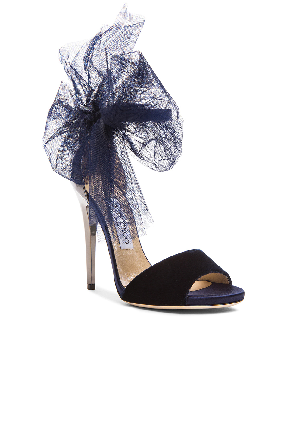 722bcb1a9a96 Lyst - Jimmy Choo Lilyth Velvet and Leather Bow Sandals in Blue