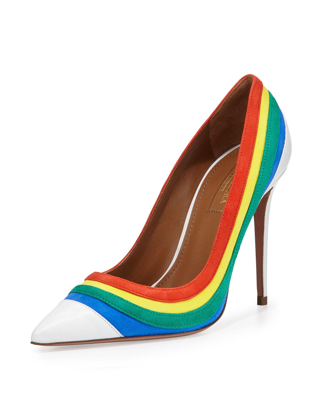 52e55a59530 Aquazzura Multicolor Rainbow-Striped Suede Pumps