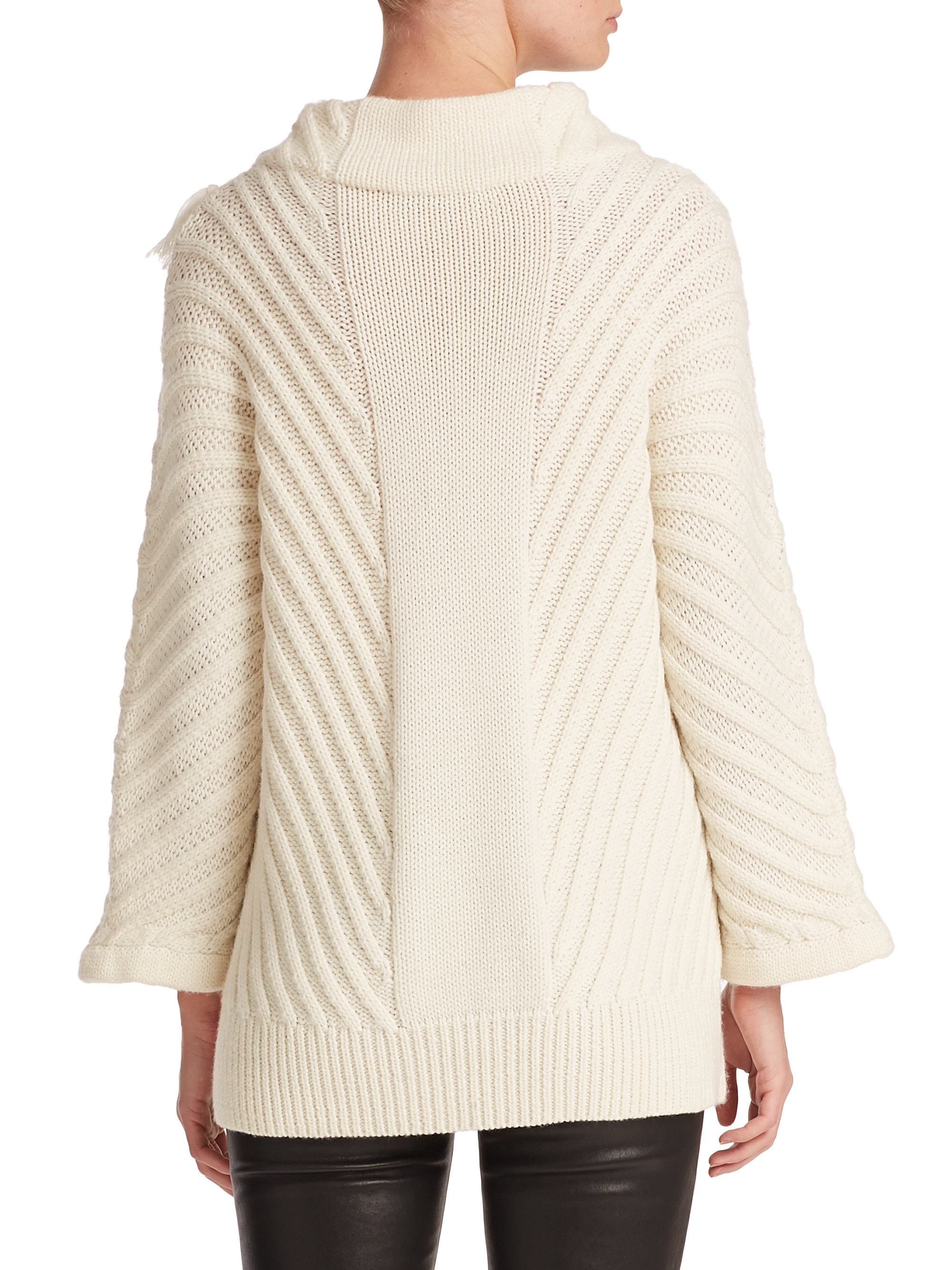 Tess giberson Chunky Cable-knit Sweater in White | Lyst