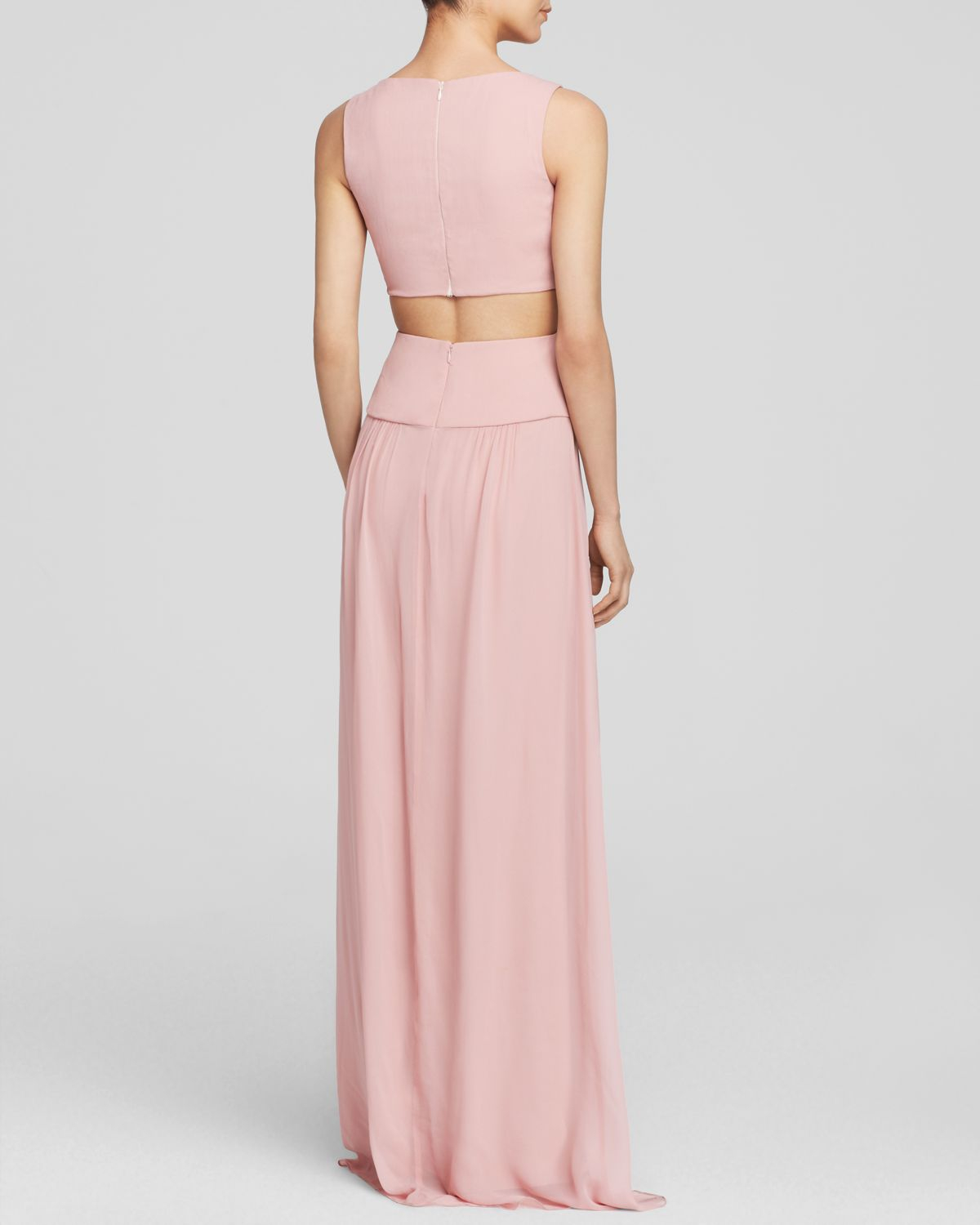 7a5608bc61673 Nicole Miller Gown - Sleeveless Cutout in Pink - Lyst