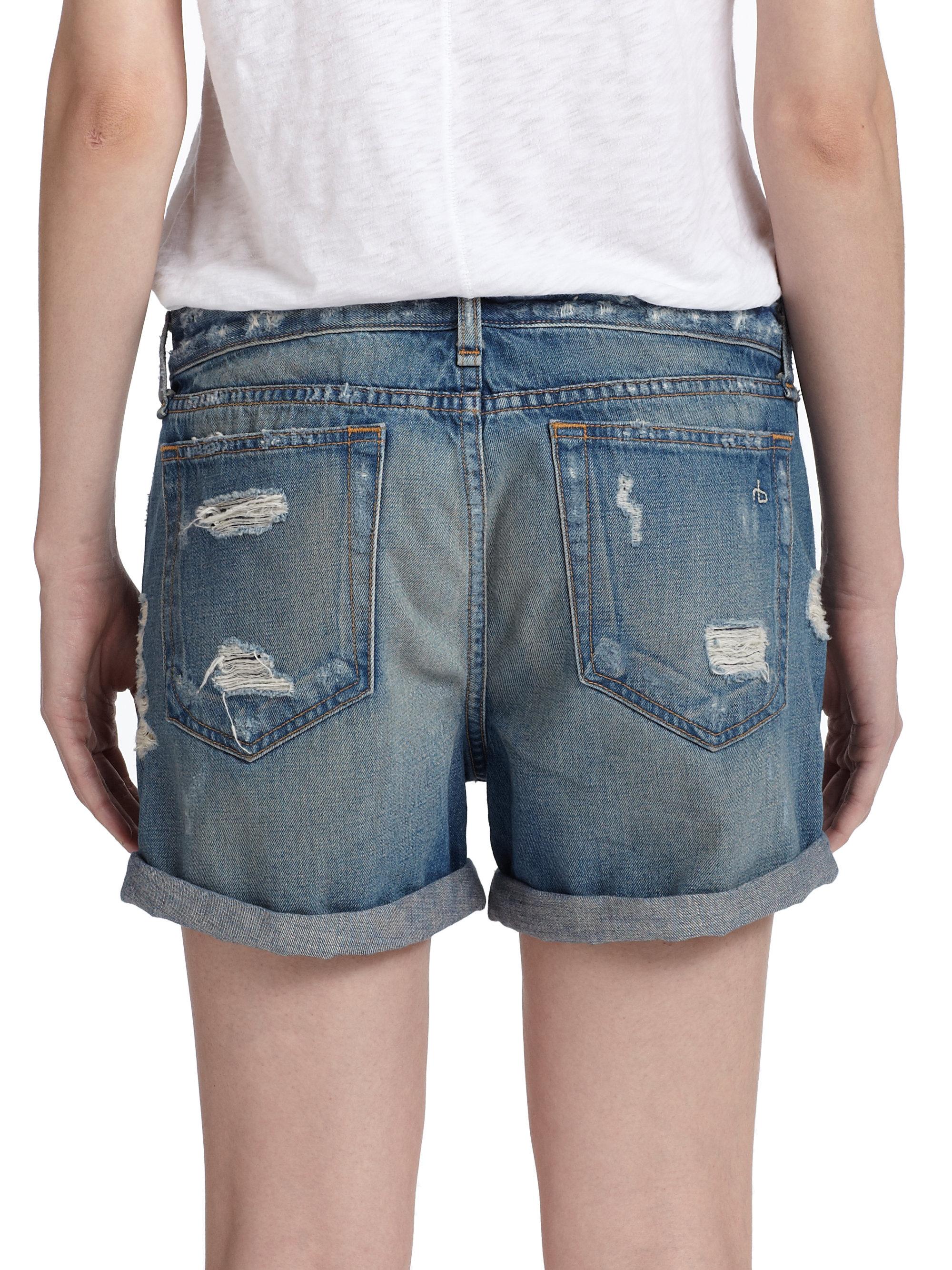 Rag & bone Distressed Boyfriend Shorts in Blue | Lyst