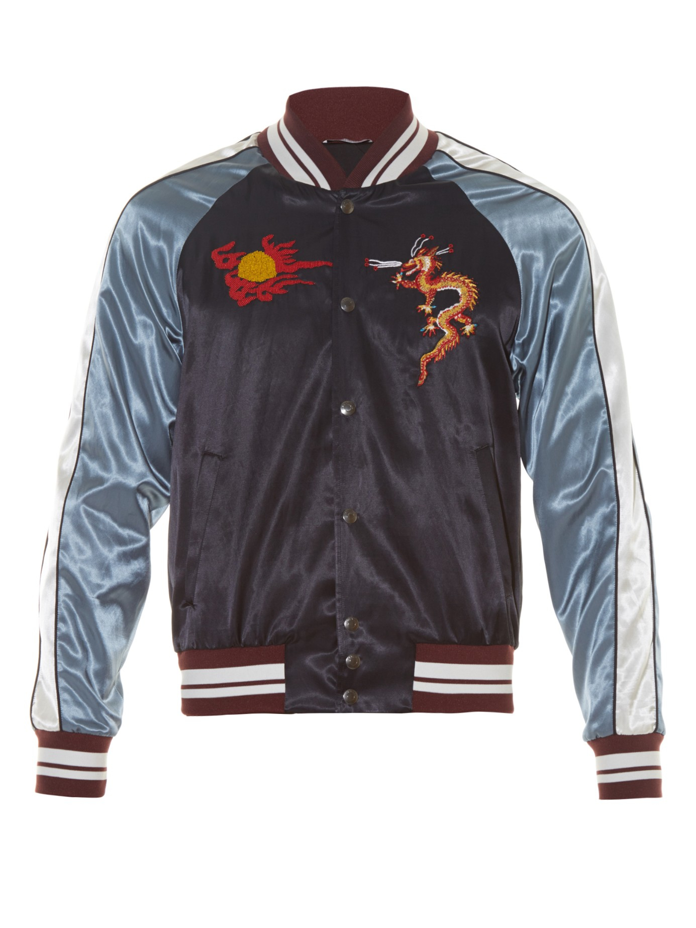 Valentino Dragon-embroidered Satin Baseball Jacket in Blue for Men ...