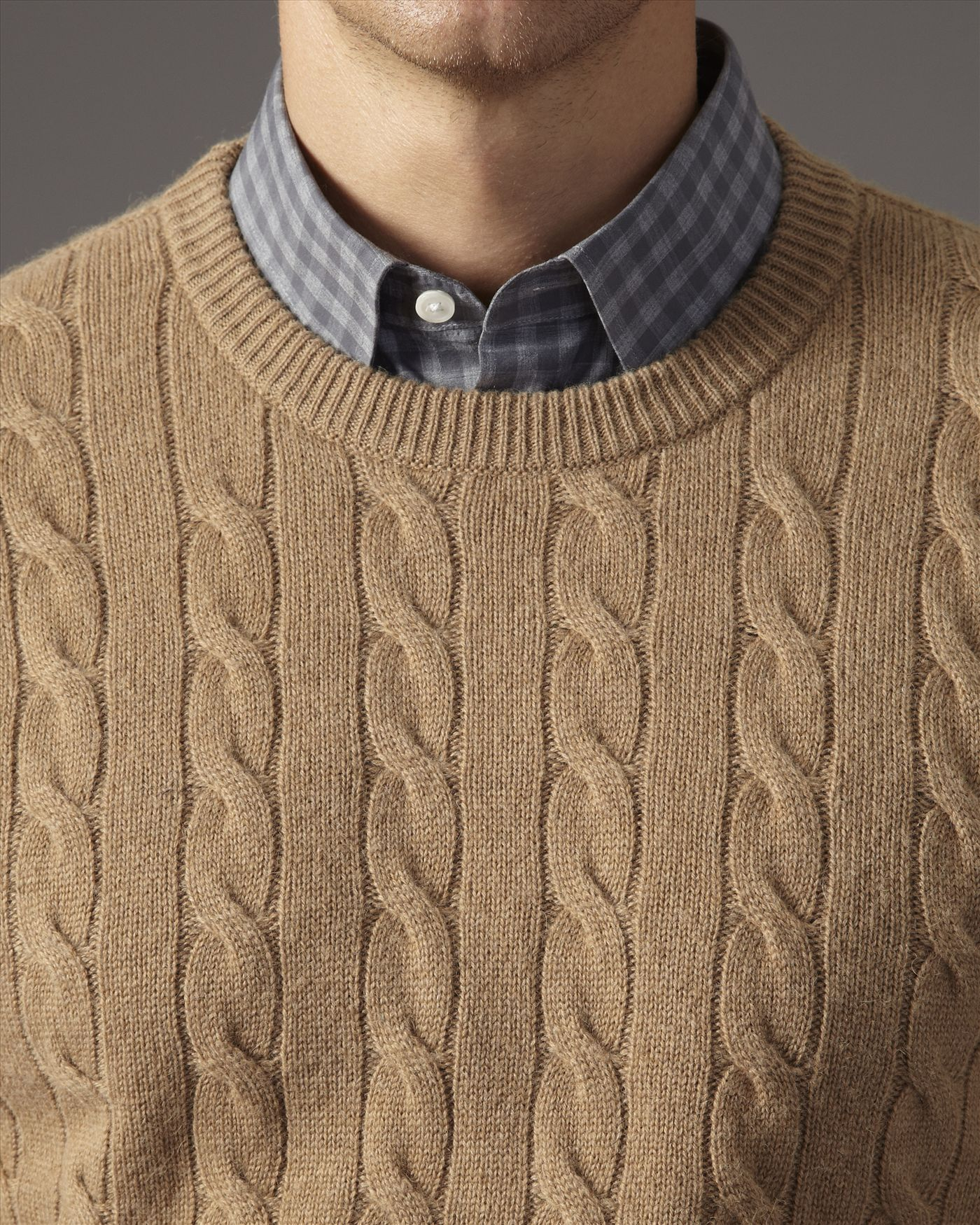 Jaeger Camel Hair Cable Knit Sweater in Natural for Men | Lyst