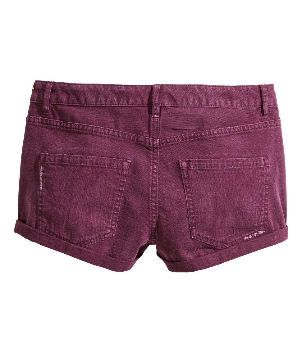 Hu0026m Denim Shorts in Purple | Lyst