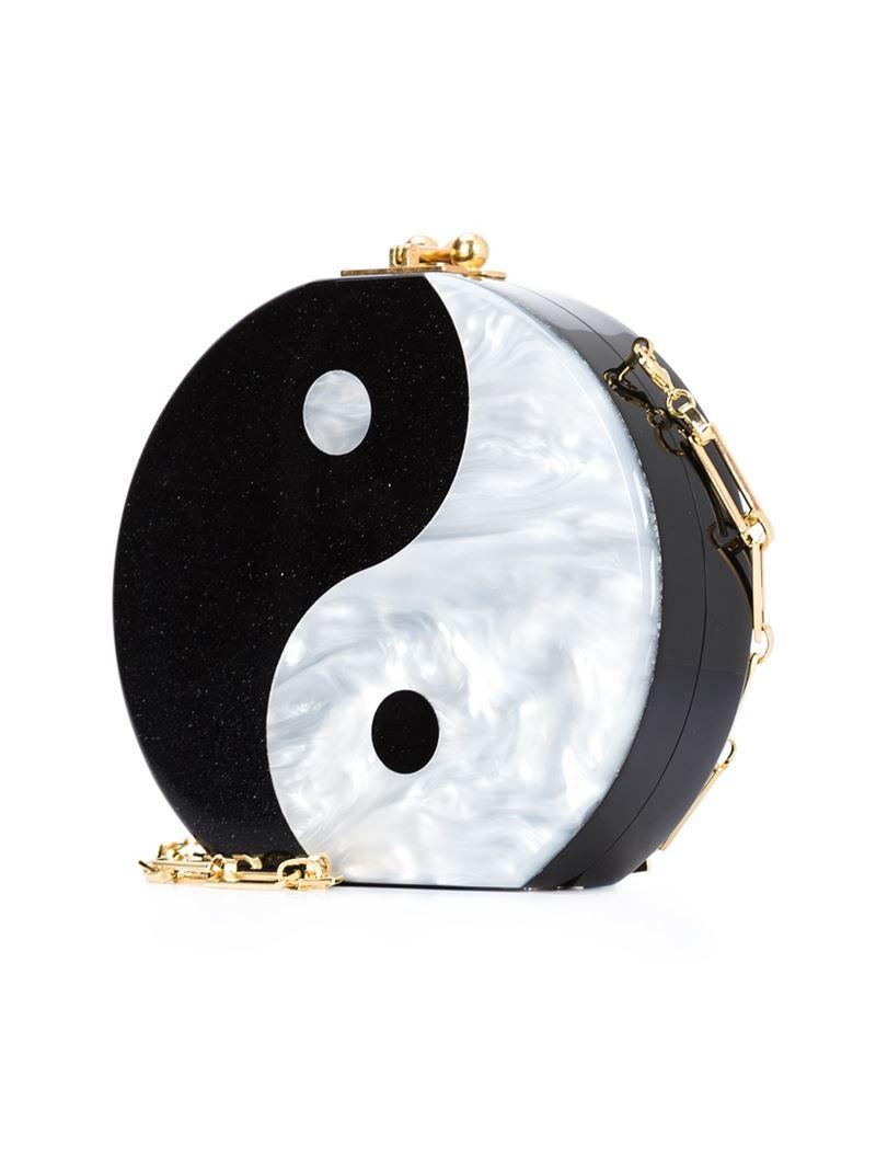 Lyst Edie Parker Ying Yang Clutch In Black