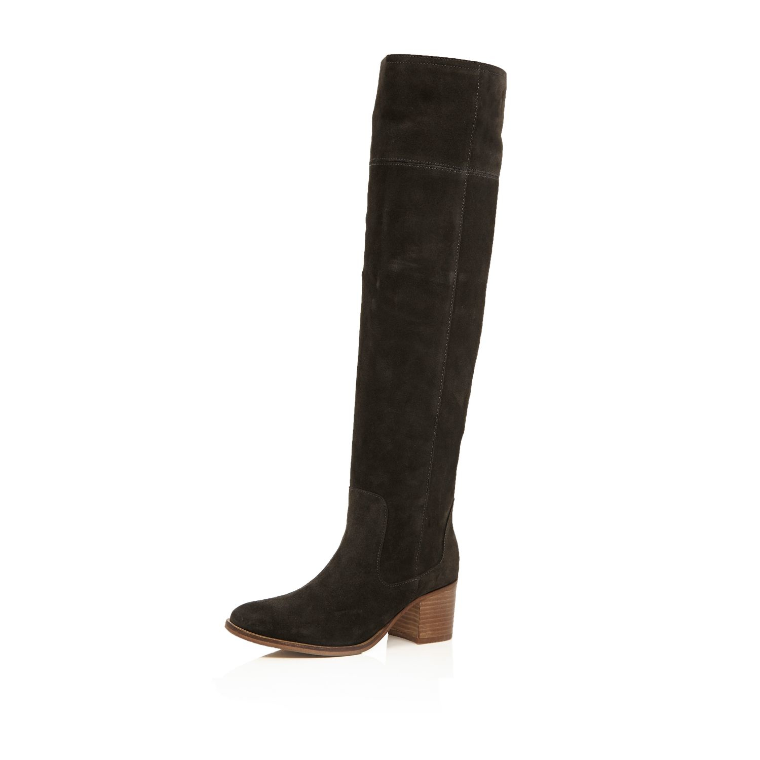 river island brown suede knee high boots in gray grey lyst