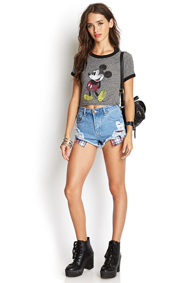 21 Mickey Mouse Nail Art Designs Ideas: Forever 21 Heathered Mickey Mouse Tee In Gray