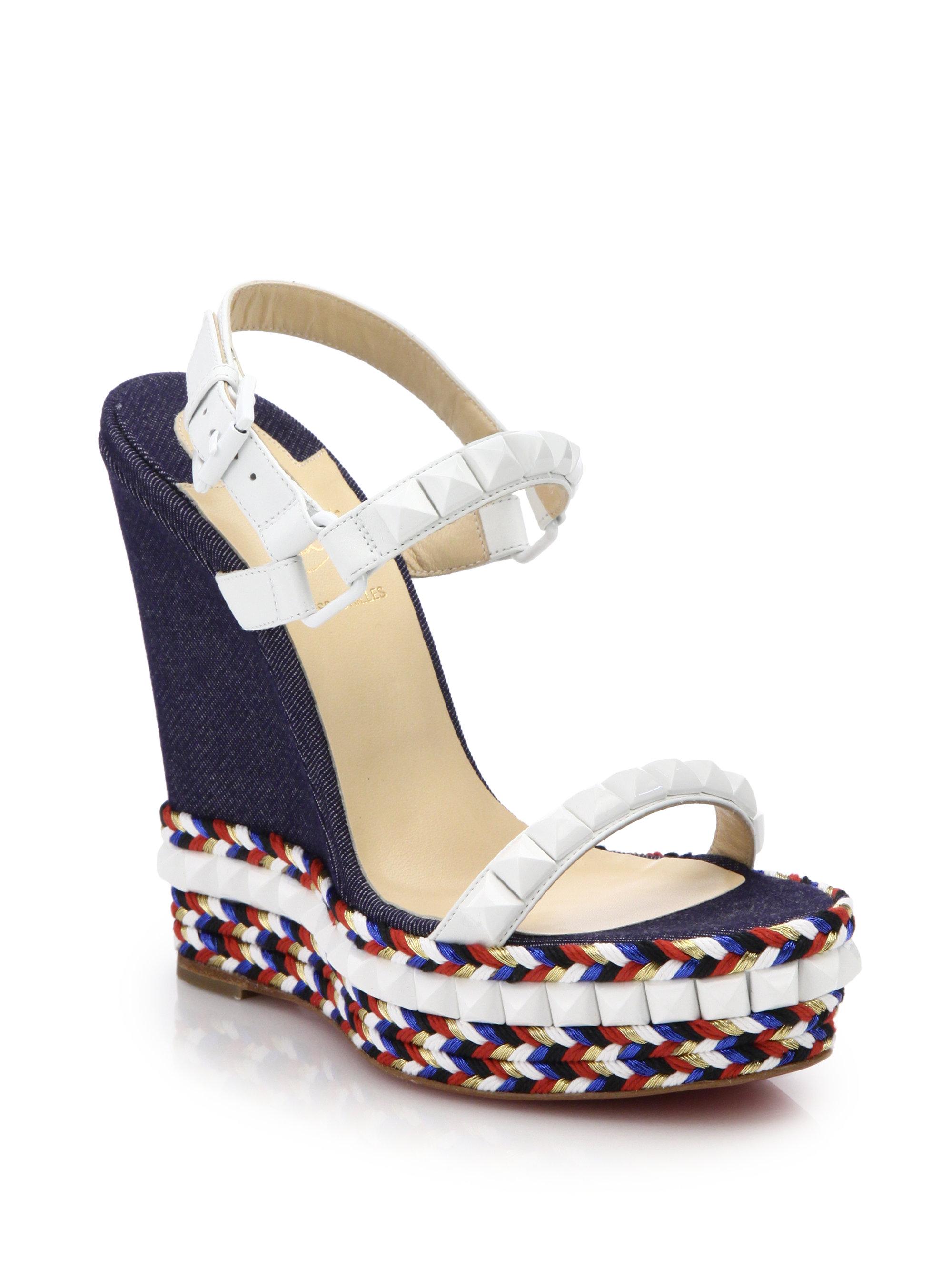 christian louboutin slingback sandals Dark blue denim | The Little ...
