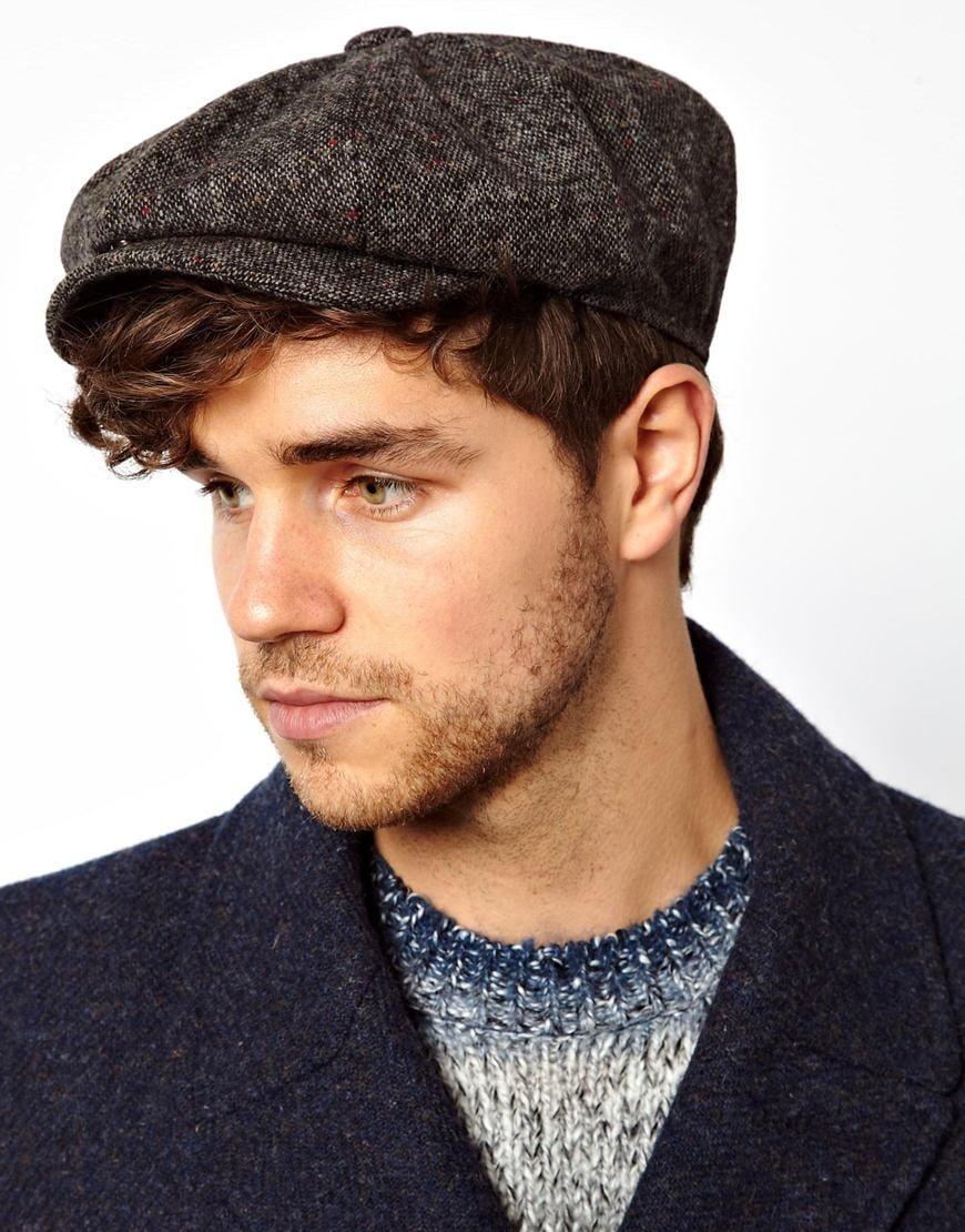 ASOS Baker Boy Hat In Grey Tweed in Gray for Men - Lyst 83cae3181c0
