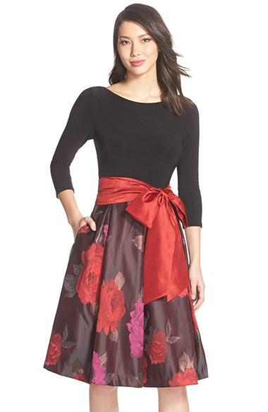 Eliza J Floral Jacquard Fit Amp Flare Dress In Black Lyst