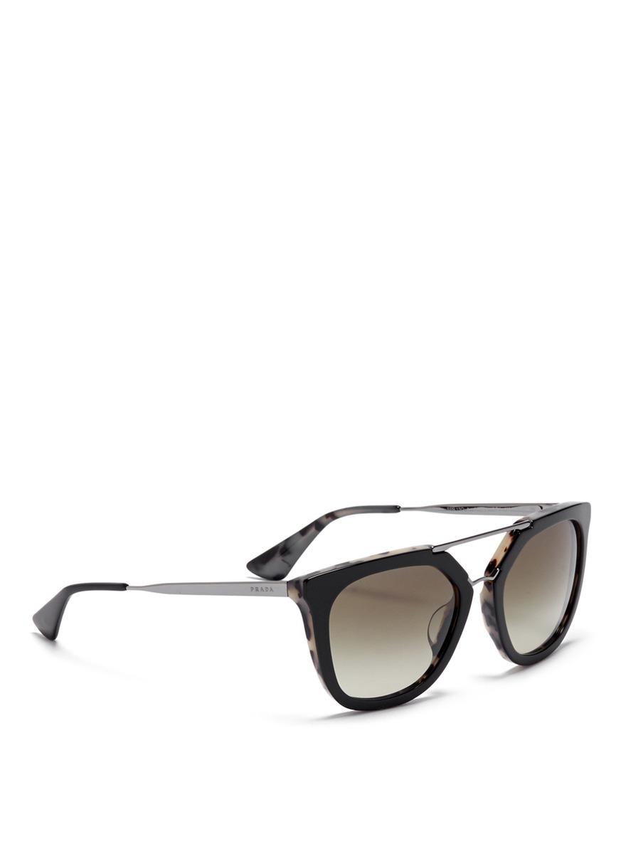 b498bc7d5c158 Prada  luxottica  Double Bridge Angular Sunglasses in Black for Men ...
