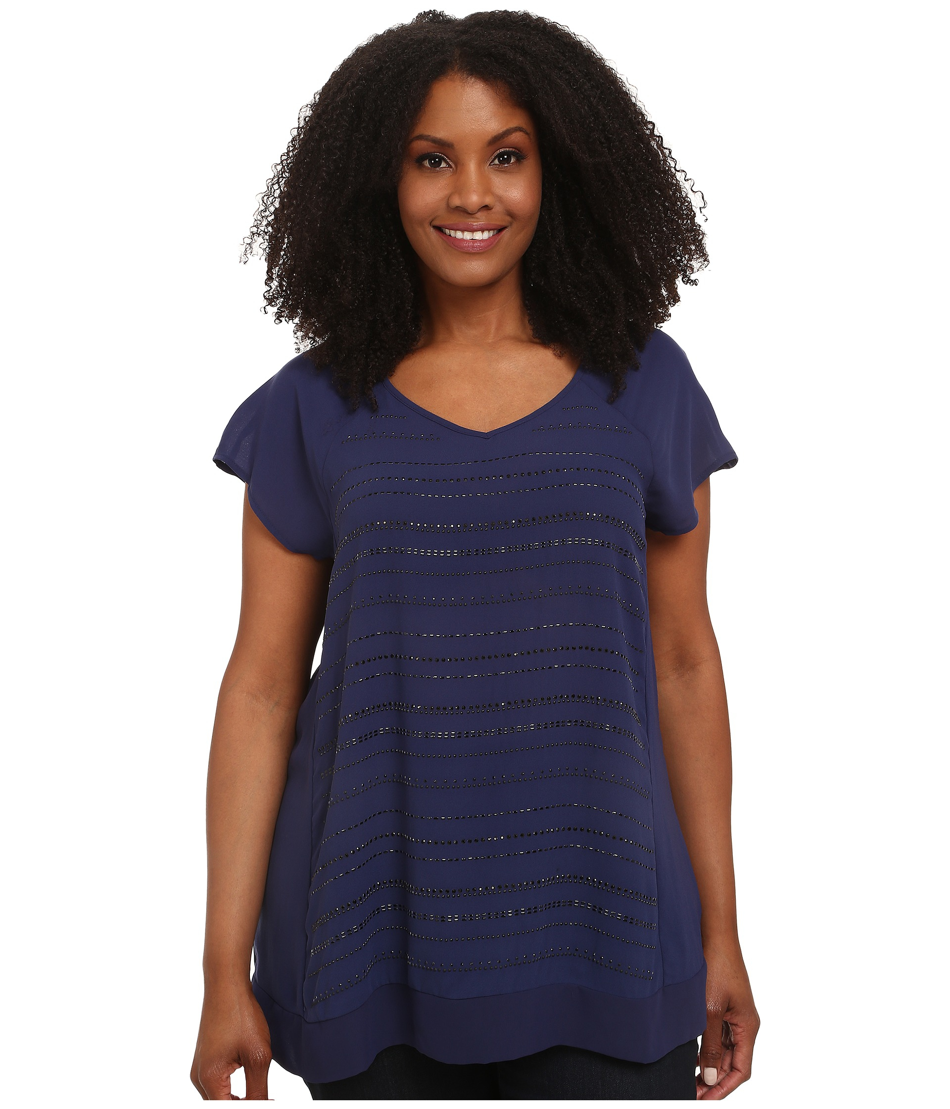 dkny plus size crepe beaded top in blue lyst