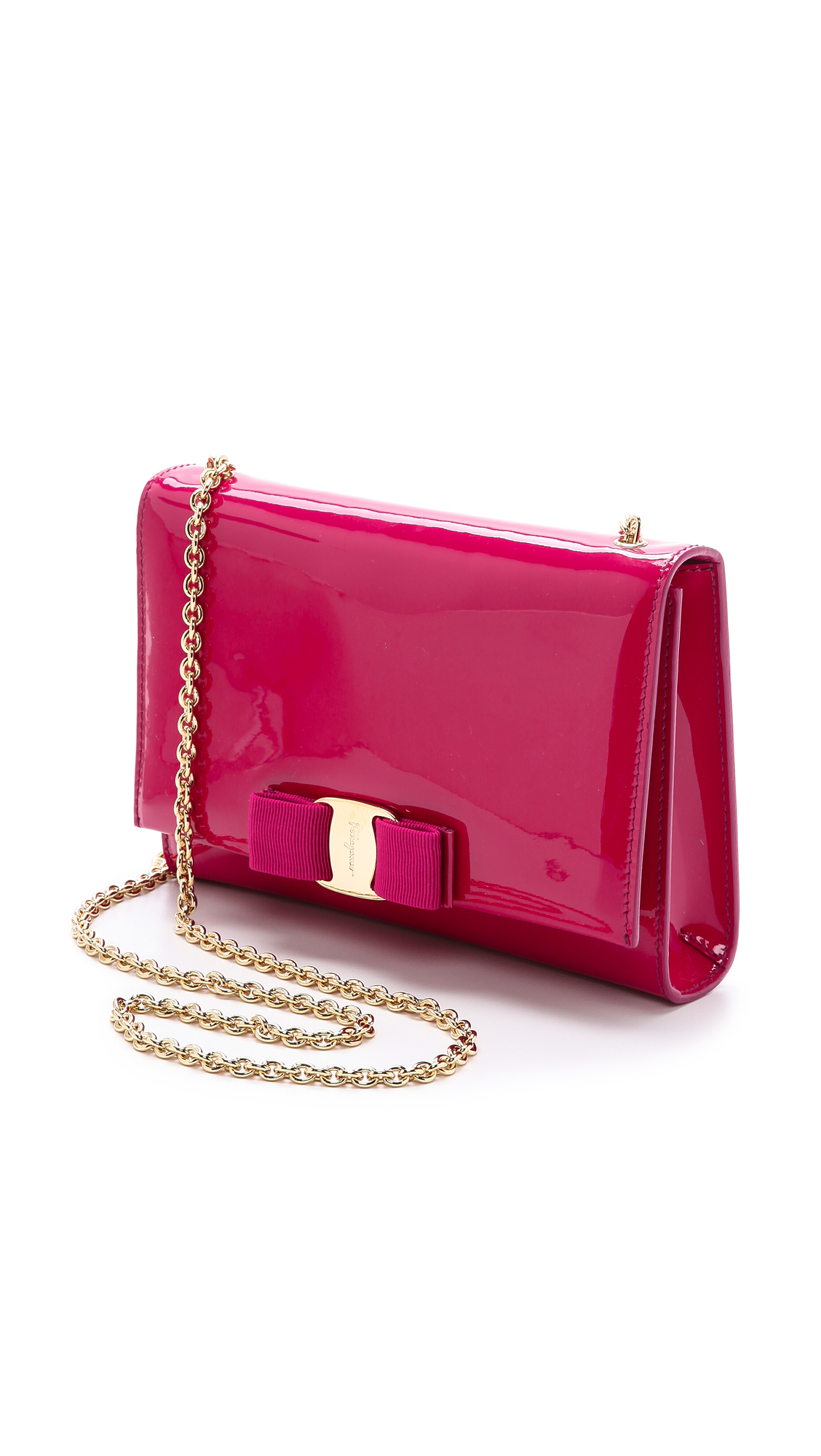 Ferragamo Miss Vara Bow Patent Shoulder Bag in Pink (Agata Rosa ...