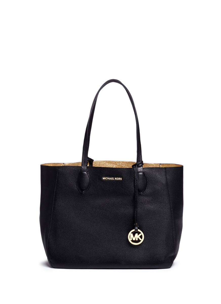Michael Kors Mae Large Leather Tote In Black Lyst