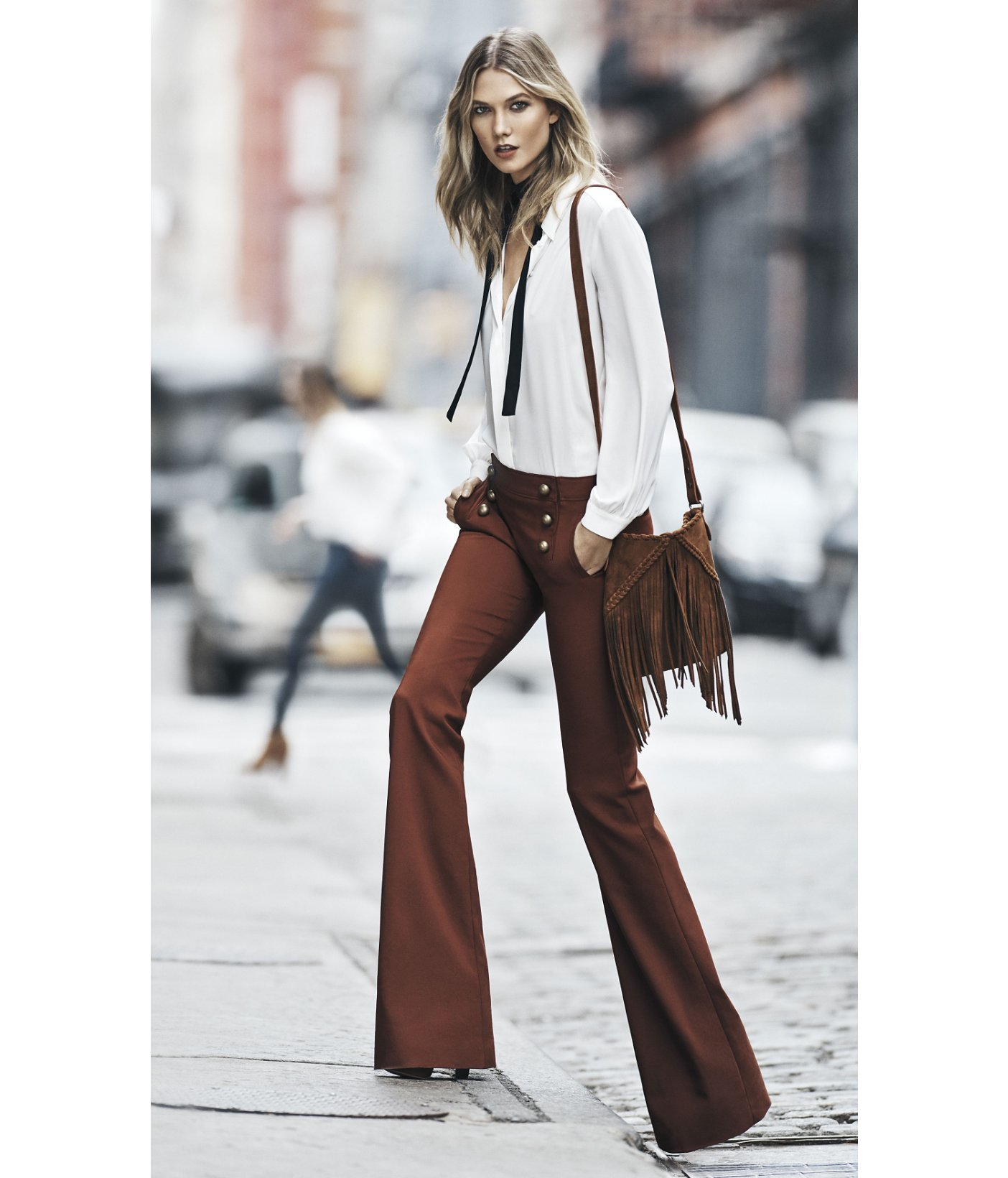 Express Mid Rise Sailor Flare Pant in Brown | Lyst