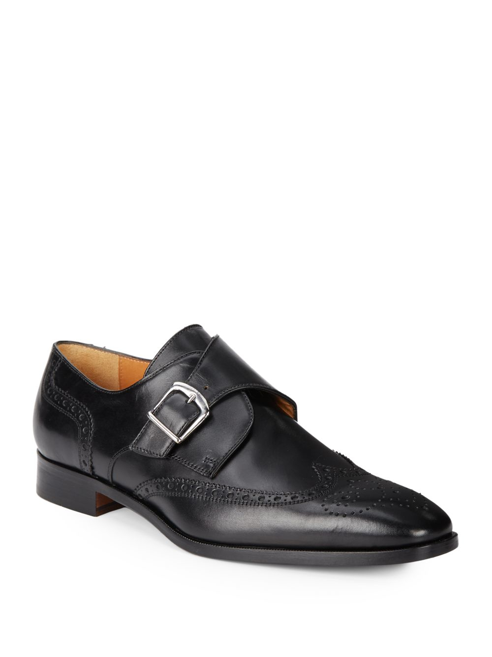 saks fifth avenue leather wingtip monk shoes in