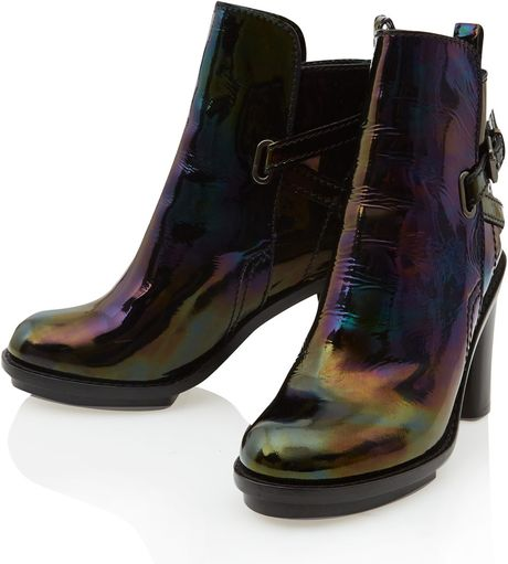 acne studios petrol cypress leather ankle boots in