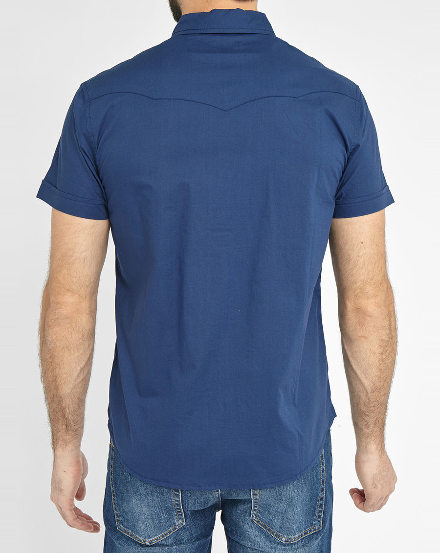 Wrangler Navy Western Short Sleeve Slim Fit Shirt In Blue