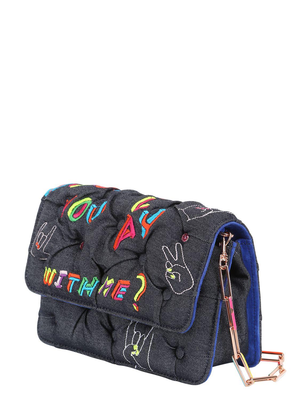 Benedetta bruzziches embroidered denim carmen shoulder bag