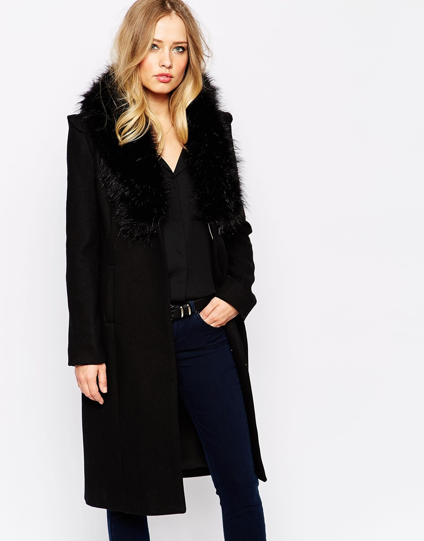 Supertrash Upertrash Orora Wool Coat With Faux Fur Collar in Black ...