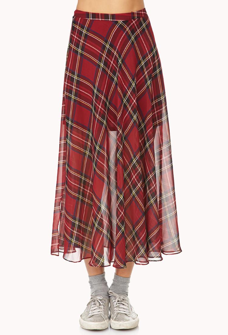 forever 21 tartan plaid slit maxi skirt in black