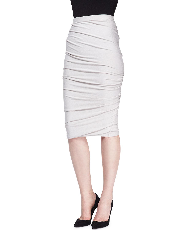 donna karan crush jersey pencil skirt in white lyst