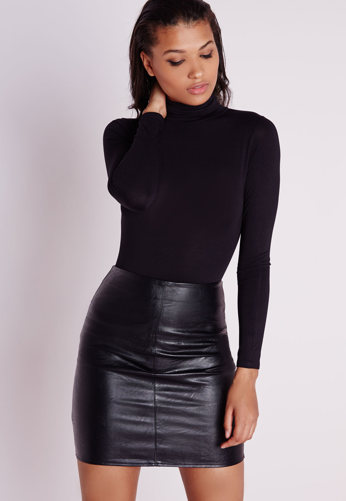 Missguided Tall Faux Leather Mini Skirt Black in Black | Lyst