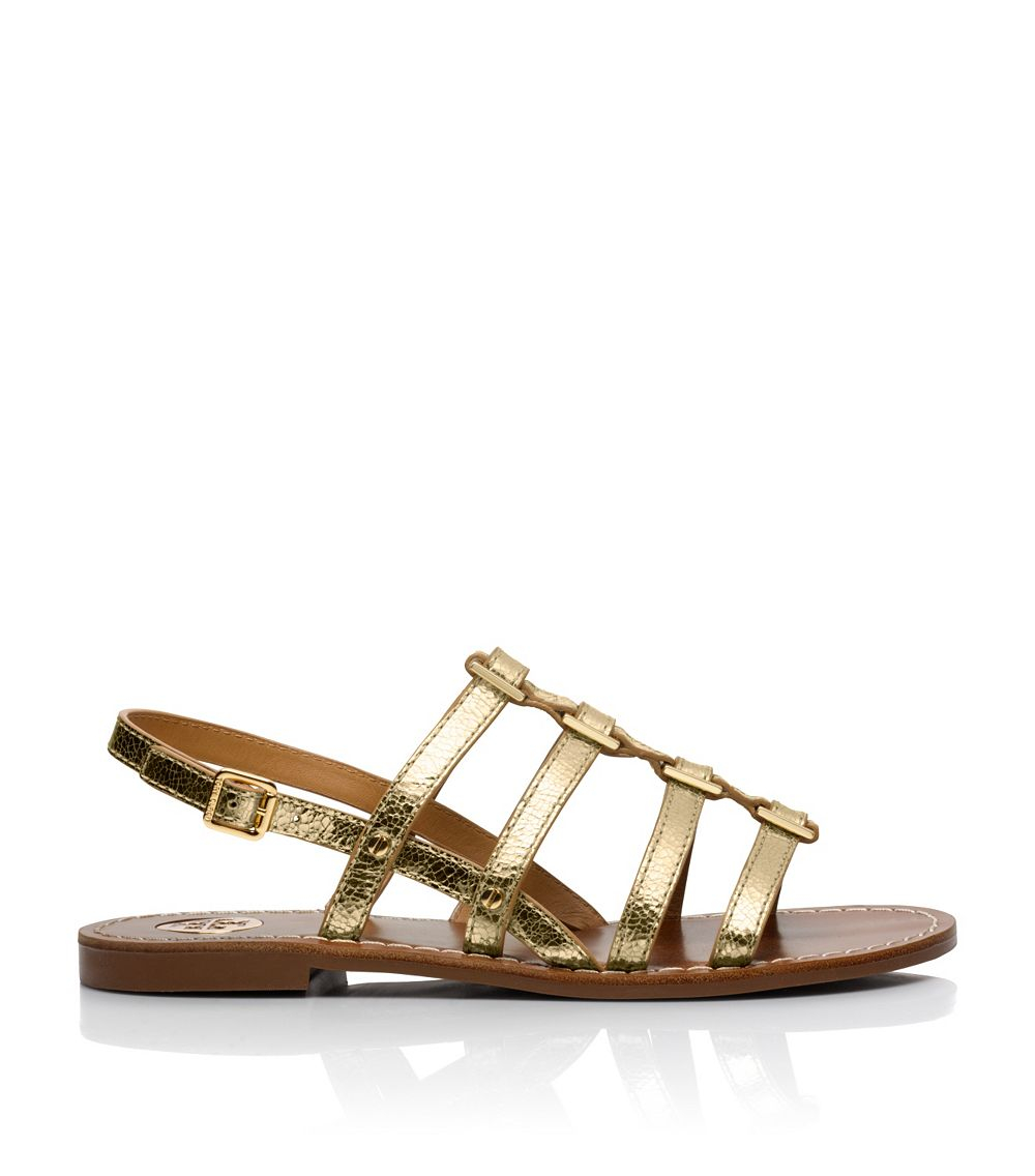 defb561c3 Tory Burch Reggie Metallic Flat Sandal in Metallic - Lyst