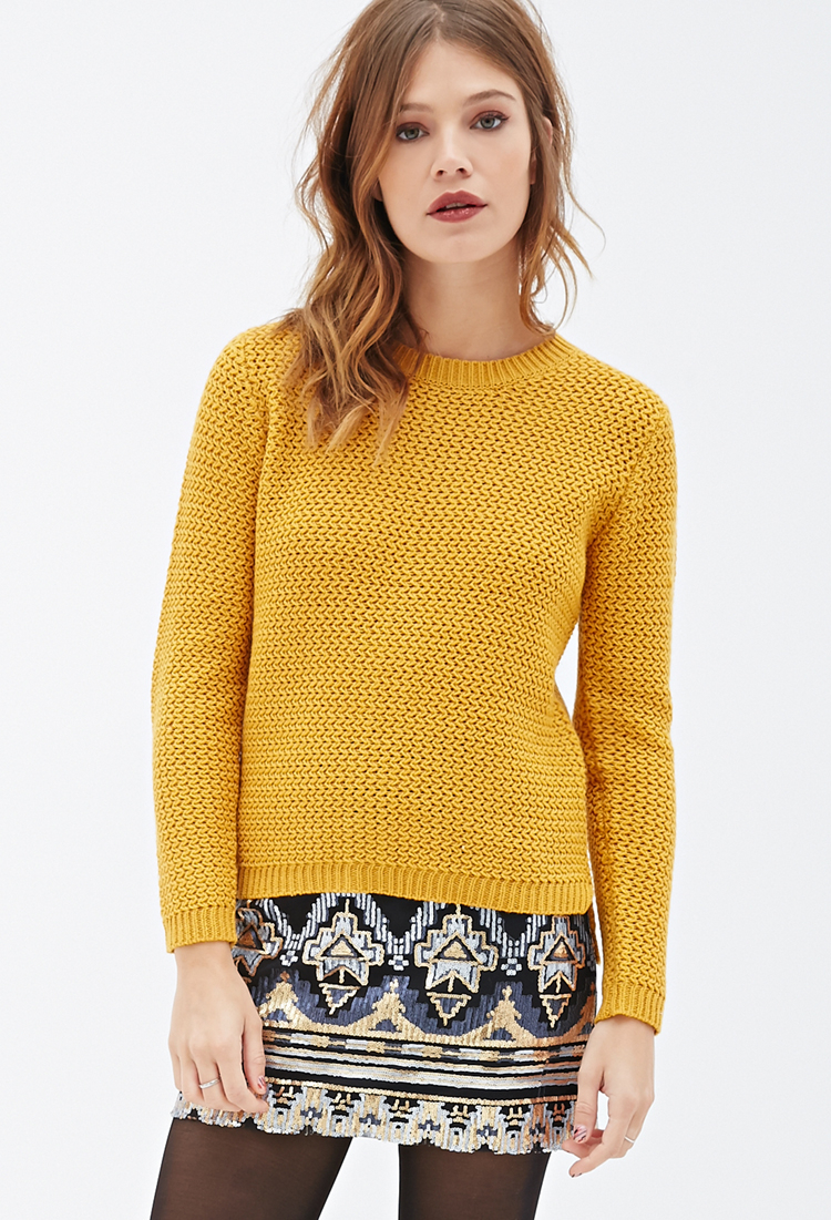 Knit Sweater With Zig Zag Pattern : Forever zigzag patterned knit sweater in yellow lyst