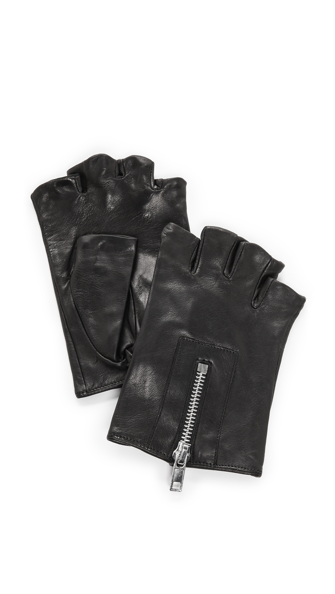 Shorty leather driving gloves fingerless - Gallery