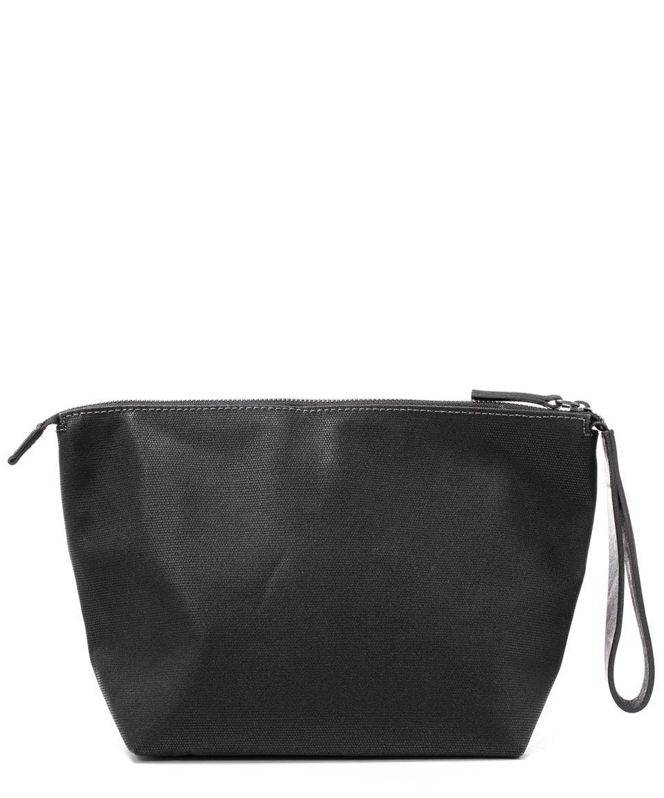 ally capellino black vinnie waxed canvas wash bag in black