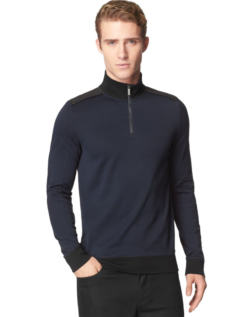 calvin klein jacquard quarter zip pullover in blue for men lyst. Black Bedroom Furniture Sets. Home Design Ideas