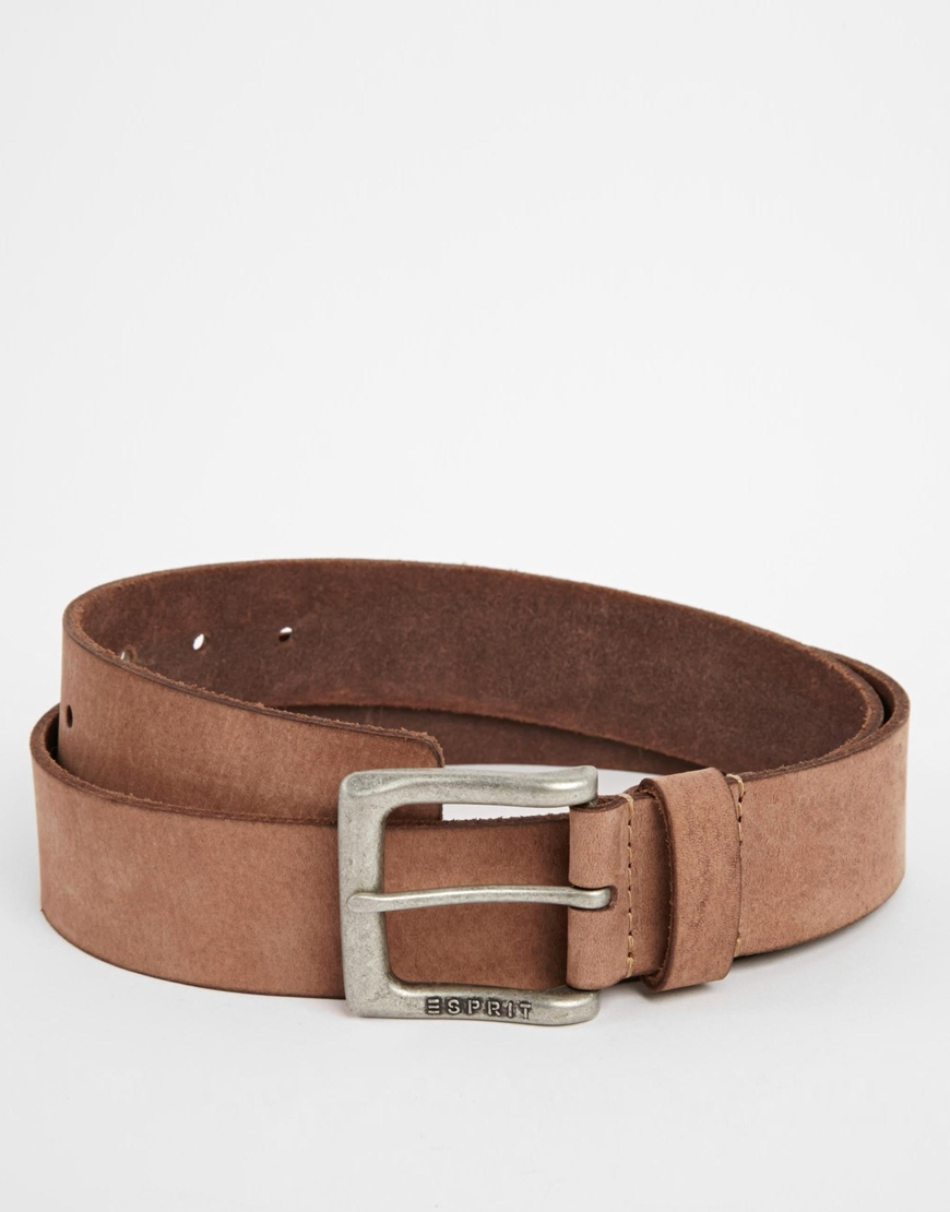 esprit casual leather belt in brown for lyst