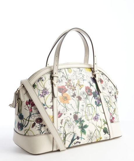Gucci Floral And White Canvas Double Gg Shoulder Bag In