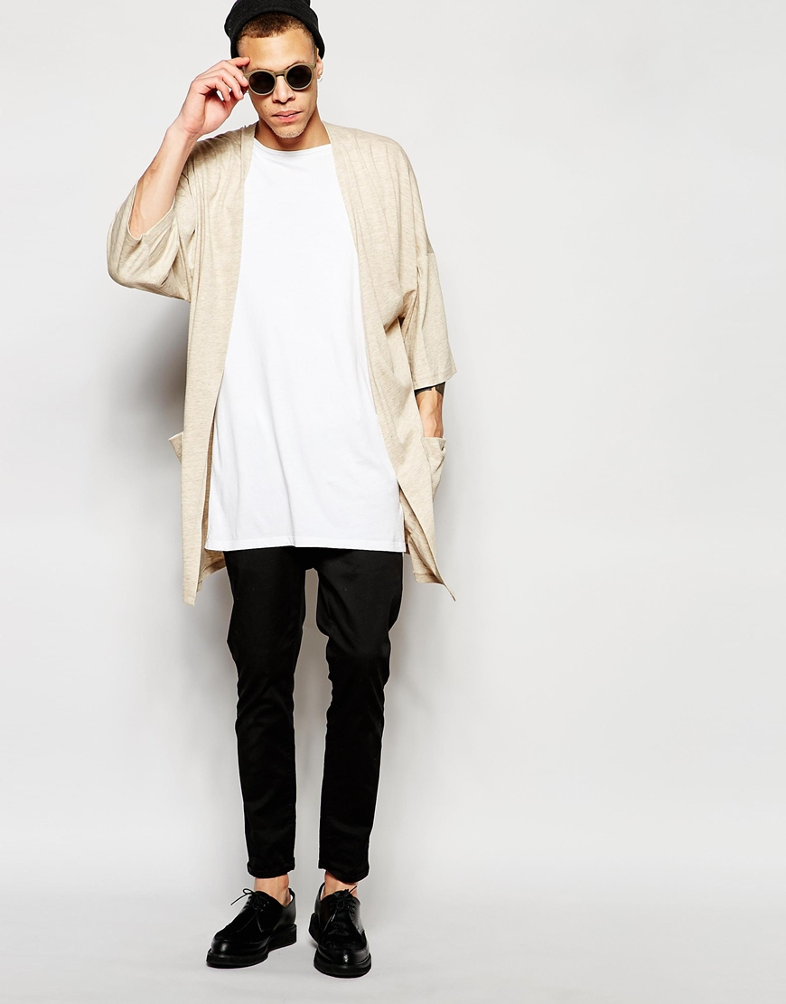 Asos Longline Kimono Cardigan In Beige in Natural for Men | Lyst