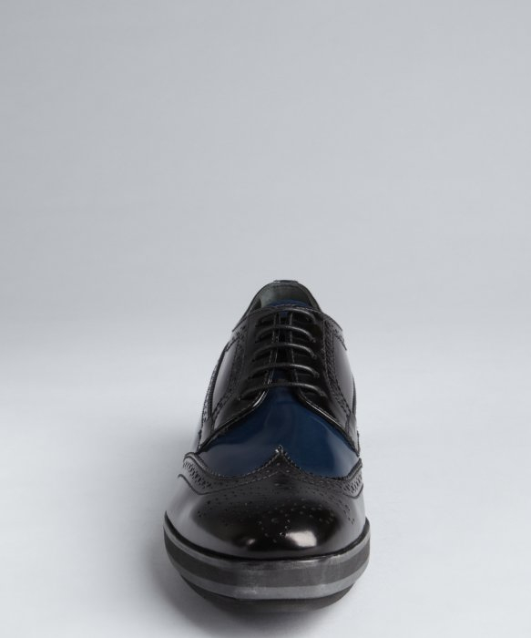 prada messenger bag sale - Prada Black And Navy Patent Leather Tooled Wingtip Platform ...