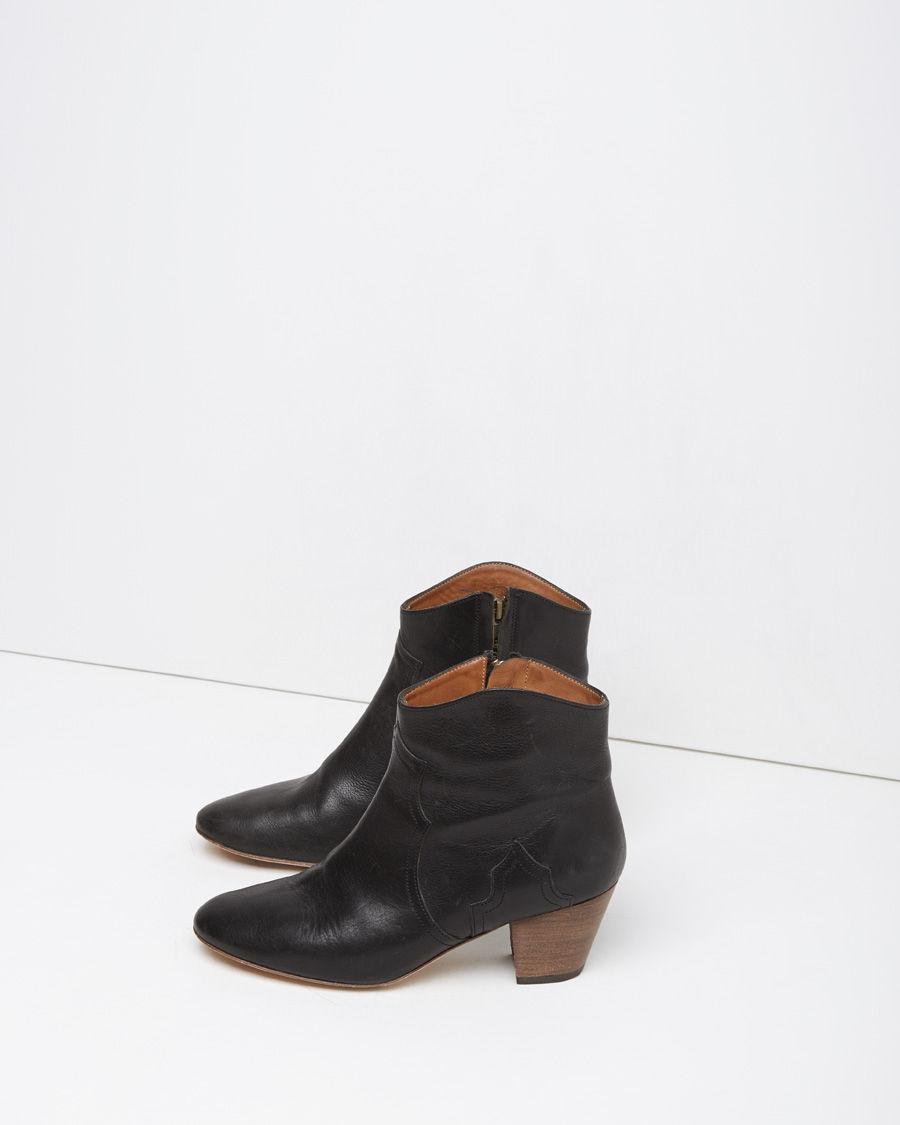 isabel marant dicker leather ankle boots in black noir lyst. Black Bedroom Furniture Sets. Home Design Ideas