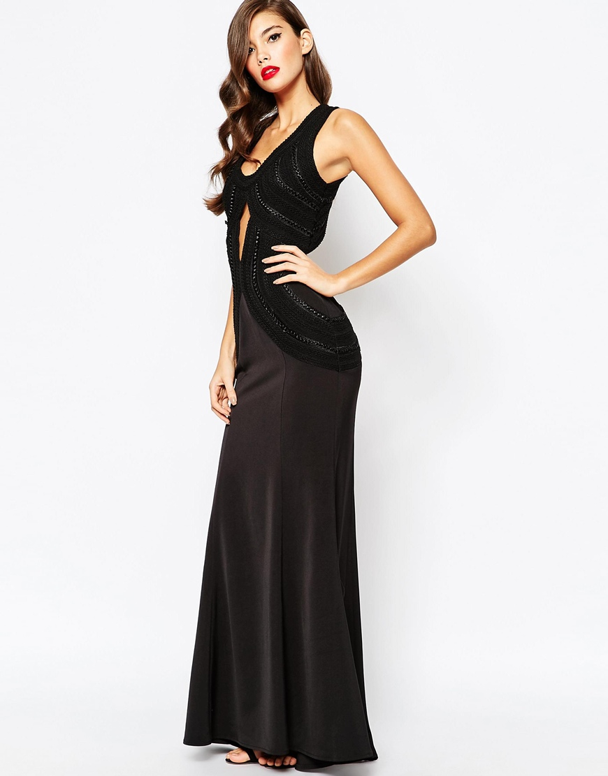 Jarlo Fishtail Maxi Dress With Open Back And Detail in Black   Lyst